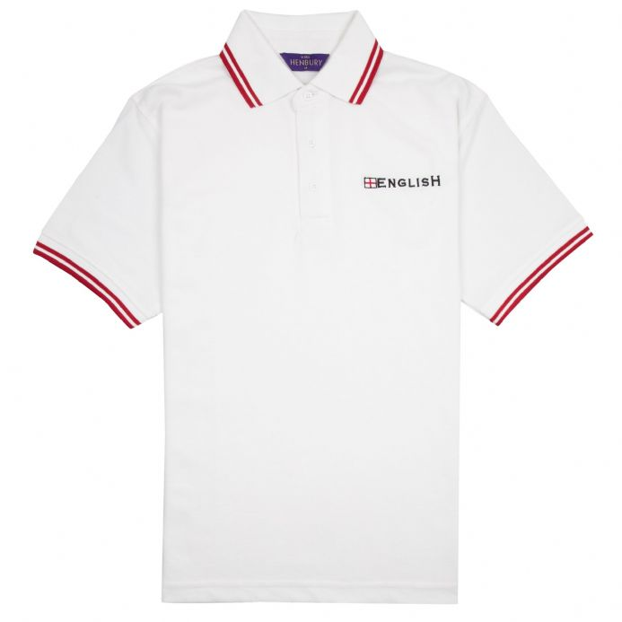 """English"" Embroidered England Polo Shirt (White with Red Trim)"